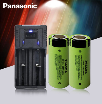2pc 100% Original Panasonic 26650A 3.7V 5000mAh High Capacity 26650 Li-ion Rechargeable Batteries AND Fast Charger Best Quality image