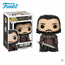Official FUNKO POP Game of Thrones # 49 Jon Snow Night's Watch Vinyl Doll Toys Kids Birthday Gift Model Collectible Original Box [funny] original box 28cm game over watch azrael black death reaper ripper action figure collectible model doll toy kids gift