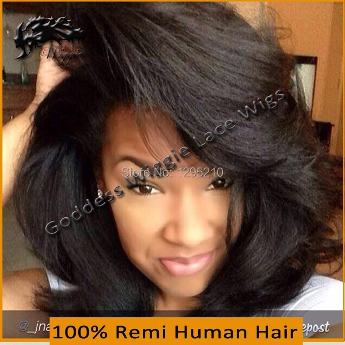150 Density Brazilian Full Lace Wigs Italian Yaki Short