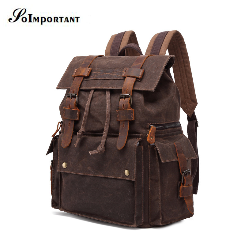 Leather Oil Wax Canvas Genuine Backpack Female 15 6 Inch Laptop Backpack Men s Travel Bags