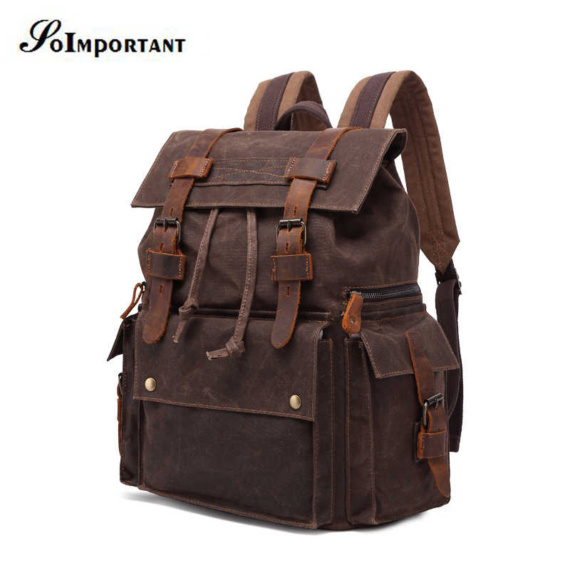 05861fca264 Genuine Leather Oil Wax Canvas Backpack Female 15.6 Inch Laptop Backpack  Men's Travel Bags Women Male Computer Bags For Teenager