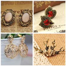 H10 Vintage Antique Heart Wings Antlers Stud Earrings Fashion Gold Color Flower Earrings For Women Fashion Wedding Jewelry Gift
