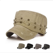 Classic Vintage Cotton Women Patrol Fatigue Flat Top Army Caps and Hats Adjustable Outdoor Casual Rivet Sun Military Hat