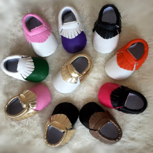 New Handmade Soft Bottom Fashion Tassels Baby PU Fringe Mixed Color Newborn Babies Shoes 18-colors PU leather Prewalkers Boots