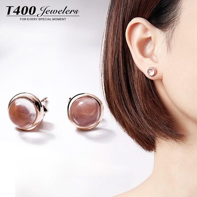 0.8cm Gold Plated Natural semi-precious stones pink chalcedony Earrings female Rose Quartz girlfriend gift lunar Earrings