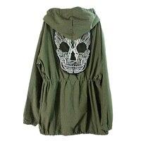 새로운 핫! 여성 위로 해골 군대 녹색 재킷 느슨한 후드 코트 착실히 보내
