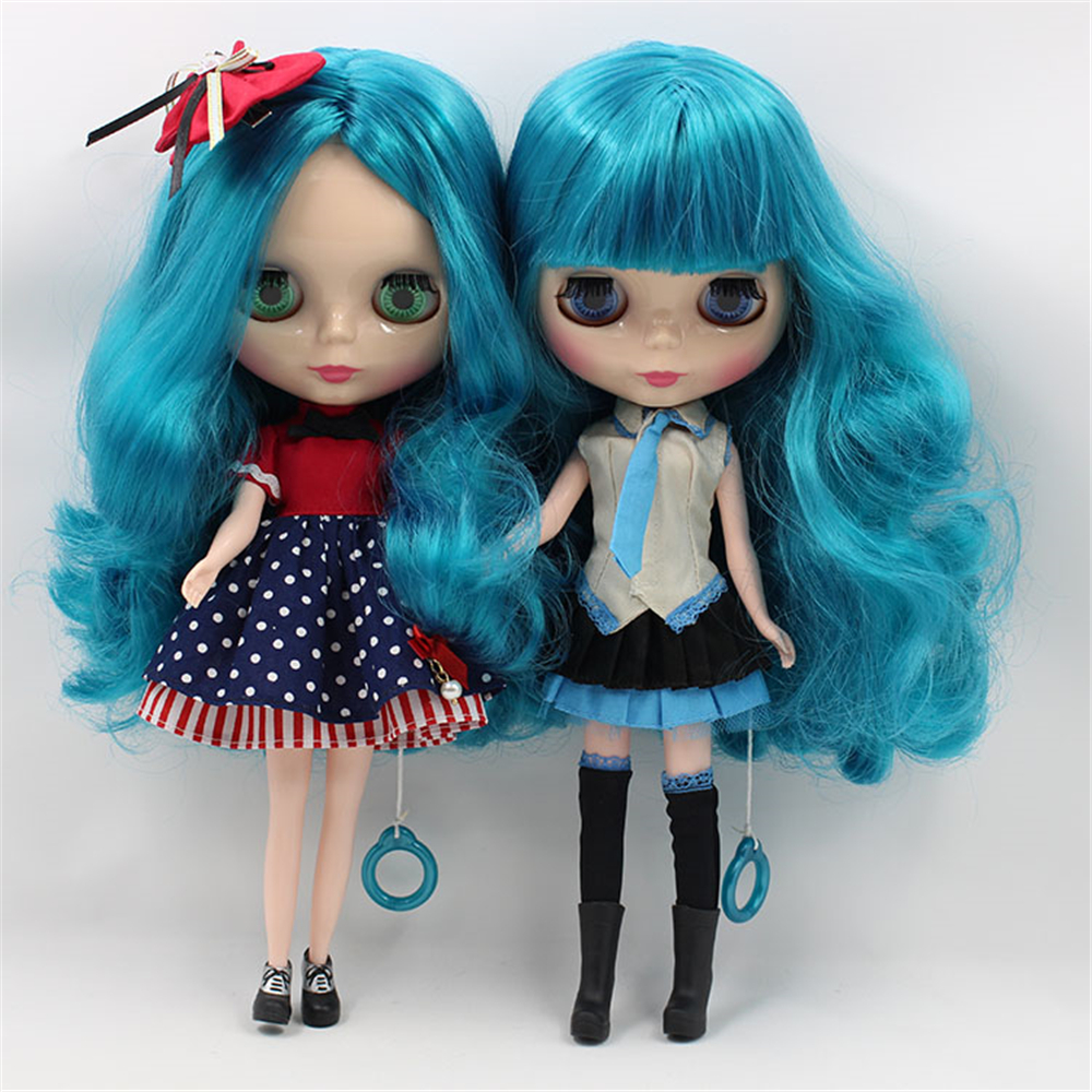 Blyth Dolls Nude Doll Blue Long Wavy Hair With/No Bangs 4 Colors Big Eyes Suitable DIY makeup doll toys blyth nude doll joint body with long wavy white hair 4 colors big eyes 1 6 bjd blyth dolls suitable diy makeup toys