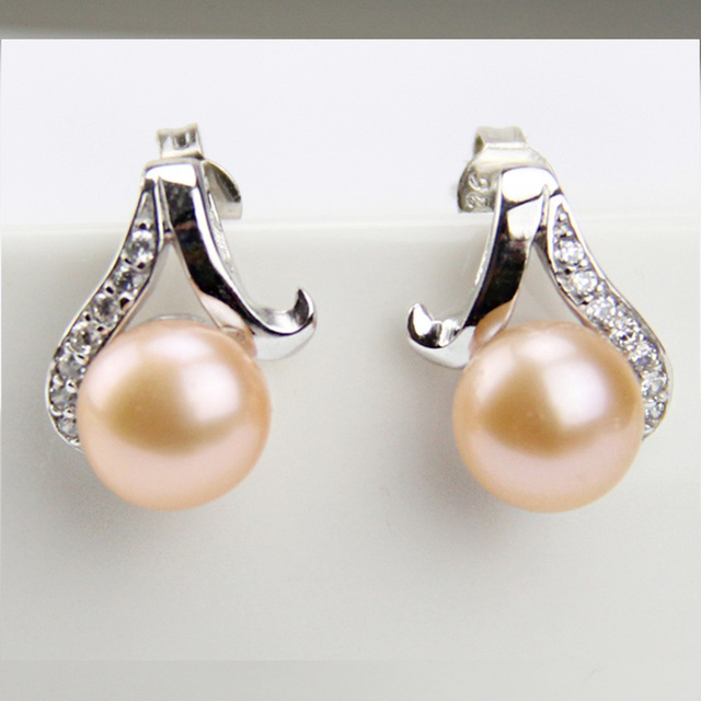Real Natural Pearl Earrings And Crystal Cultured Freshwater Round Flat Pearls Earring Pink Fashion Jewelry