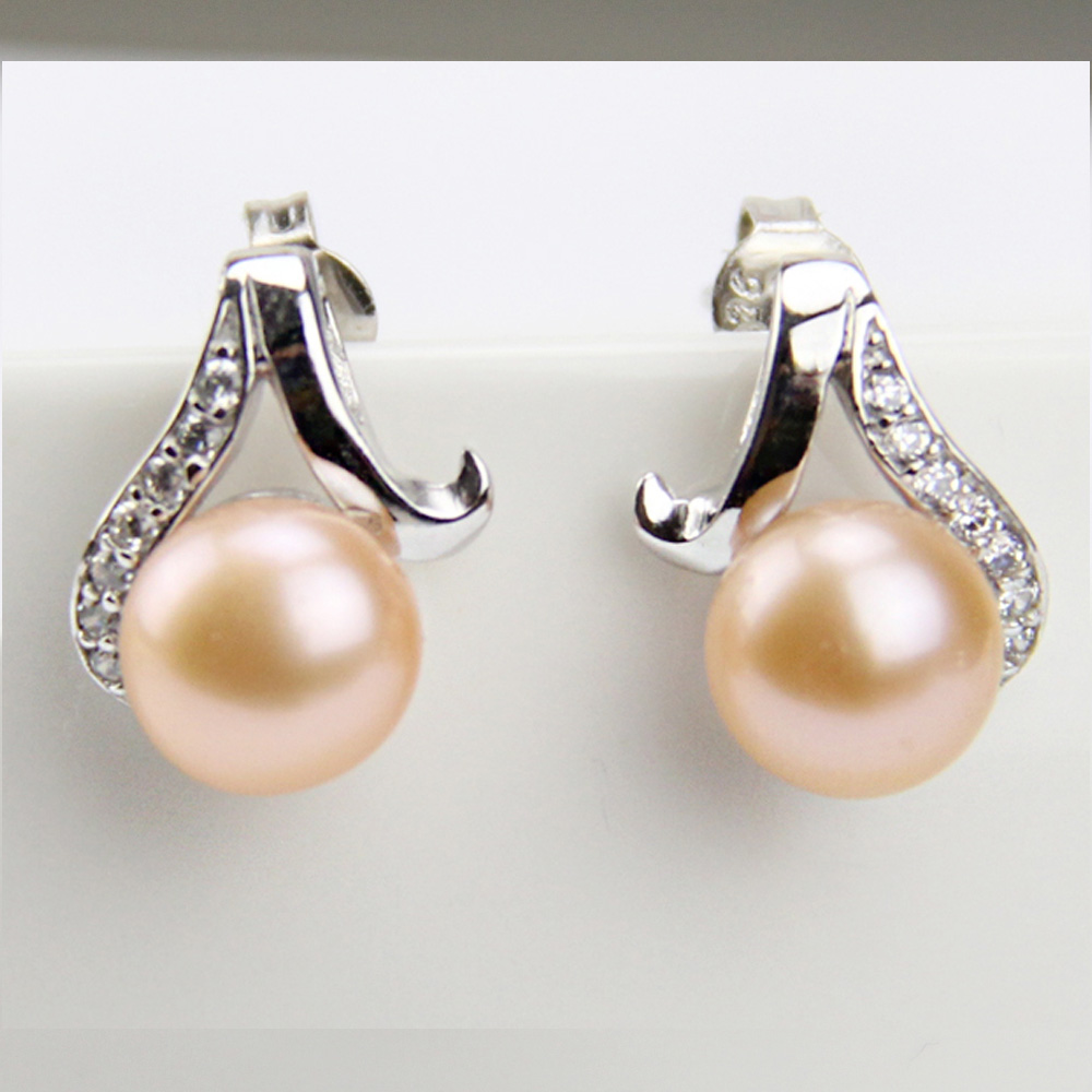 Real Natural Pearl Earrings And Crystal Cultured Freshwater Round Flat Pearls  Earring Pink Fashion Jewelry,