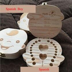 Inglês/Espanhol De Madeira Caixa de Presente de Armazenamento Organizador Caixa De Dente Salvar Caixa de Dentes De Leite Dentes do Cordão Umbilical Lanugo caja madera