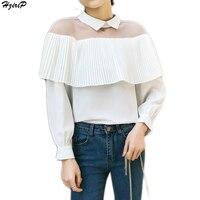 Bahar Yeni Varış Kadın Gömlek Fener Kol Şifon Seksi Mesh Patchwork Karıştırdı Bayan Gömlek Casual Kadın Bluzlar 4 Renkler Tops