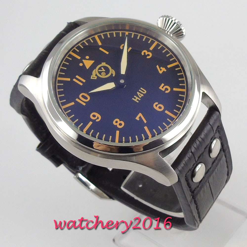 47mm corgeut cadran noir aiguilles lumineuses 6497 mouvement de remontage de la main montre pour hommes - 4
