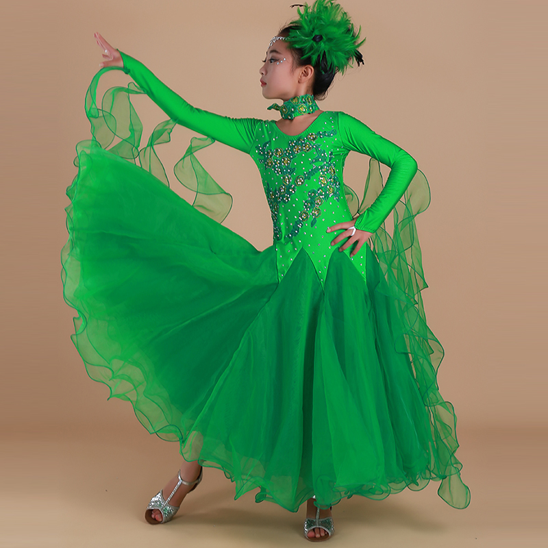 Children Standard Ballroom Dance Competition Dress For Girls Long Sleeve Stage Performance Tutu Dancing Dress Tango