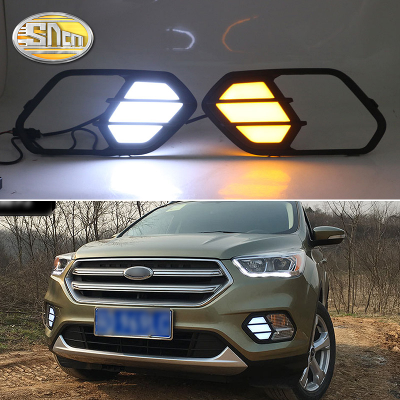 For Ford Escape Kuga 2016 2017 2018 Turn Yellow Signal Relay Waterproof Car DRL Lamp 12V LED Daytime Running Light Daylight SNCN for ford everest 2016 2017 with turning yellow signal relay waterproof car drl 12v led daytime running light led fog lamp sncn