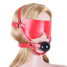 Pu Leather Open Mouth Gag Red Ball Bdsm Fetish Blindfold Adult Sex Toys Juguetes Sexuales Para