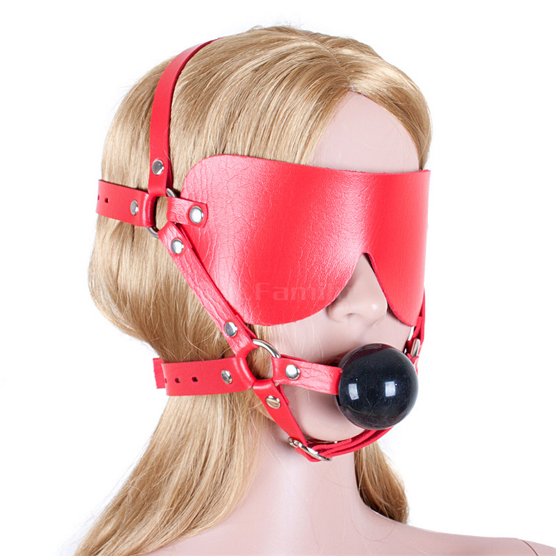 Pu Leather Open Mouth Gag Red Ball Bdsm Fetish Blindfold Adult font b Sex b font