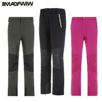 Boys Girls Outdoor Softshell Pants Fleece Winter Warm Camping Hiking Waterproof Windproof Hunting Skiing Trousers