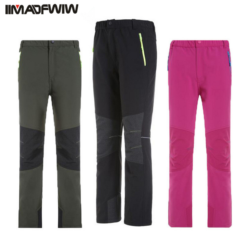 Boys & Girls Outdoor Softshell Pants Fleece Winter Warm Camping Hiking Waterproof Windproof Hunting Skiing Trousers