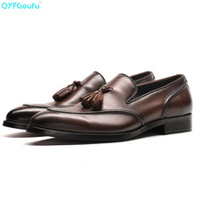 QYFCIOUFU New Genuine Leather Men Formal Shoe With Tassel Pointed Toe Wedding Party Black Brown Footwear Men's Flat Dress Shoes