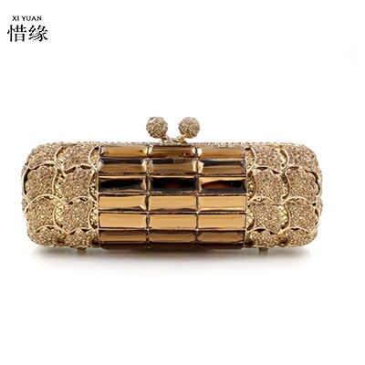 XIYUAN Брендовое Золотое свадебное платье со стразами клатч сумка свадебные сумочки с кристаллами кошельки металлические женские клатчи дизайнерские вечерние сумочки