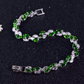 2017 новый серебряный браслет природный диопсид браслет для женщины россии изумрудный 925 твердые ювелирных изделий стерлингового серебра