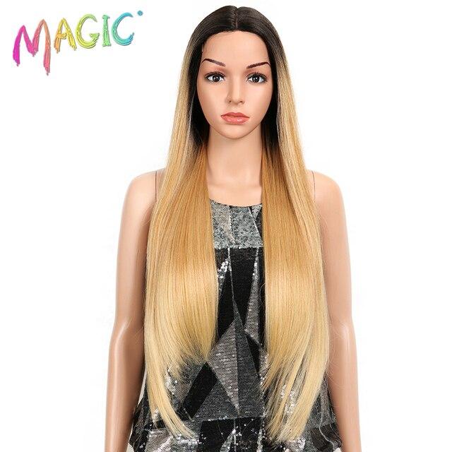 קסם שיער ארוך סינטטי חזית תחרת פאות עבור נשים שחורות 28 אינץ צהוב ישר פאה עבור נשים סיבי טמפרטורה גבוהה שיער