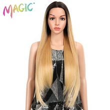 Sihirli Saç Uzun Sentetik önü örgülü peruk Siyah Kadınlar için 28 inç Sarı Düz Peruk Yüksek Sıcaklık Fiber Saç