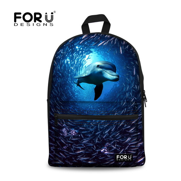 FORUDESIGNS Popular Children Animal Backpacks,3D College Student Girls Zoo Dolphin Printing School Knapsack Women Travel Backbag