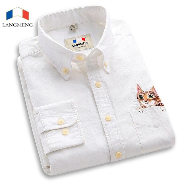 Langmeng 100% Хлопок 2016 Новый Стильный Cat Kitty Шаблон Длинные с длинными рукавами Случайные Рубашки Мужчин Мужская Slim Fit Рубашки Платья Camisa Masculina