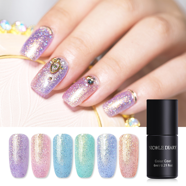 Nicole Diary 6ml Pearl Mermaid Holo Laser Glitter Gel Nail Polish Fairy Streamer Soak Off