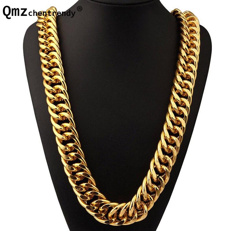 Přehnané dlouhé řetězy Zlatá Stříbrná Široký těžký Kubánský náhrdelník Hip Hop Extra hrubé šperky Hipster Muži Ženy Ženy Joyas Příliv Značka