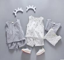 2017 Baby girl clothes and baby boy sleeveless  vest kids clothing set cotton SY-172202