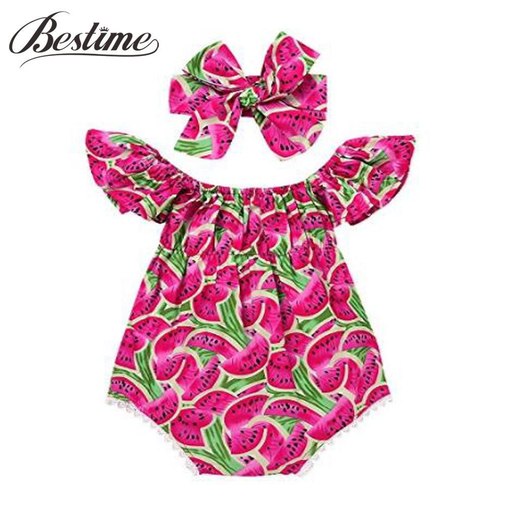 Bestime Summer Newborn Infant Baby Romper Cotton Sleeveless Watermelon Girls Rompers Kids Onepiece Trendy Baby Girls Clothes