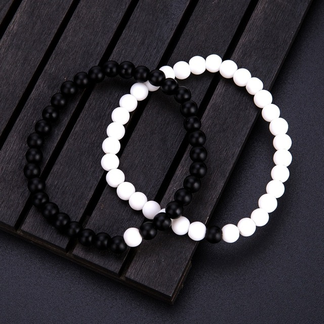 2 Pcs/Set Natural Stone 6 mm Small Beads Couple Bracelet 4