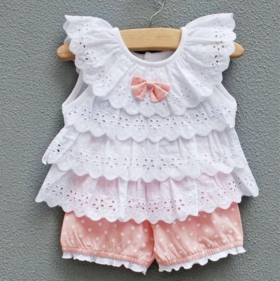 2Pcs Toddler Clothes Baby Girls Ruffled T-shirt Top+Dots Shorts Suits Sets