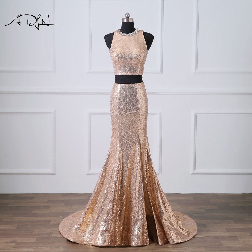 Hot Sale ADLN Rose Gold Evening Dresses Two Pieces Prom Gown with ...