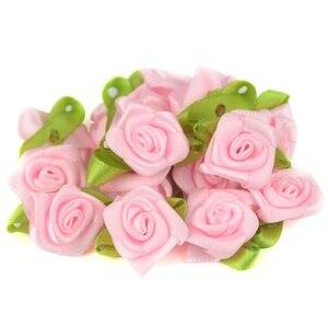 Image 4 - 50 teile/los 2CM Künstliche Seide Mini Rose Blume Köpfe Machen Satin Band Handmade DIY Handwerk Scrapbooking Für Hochzeit Dekoration