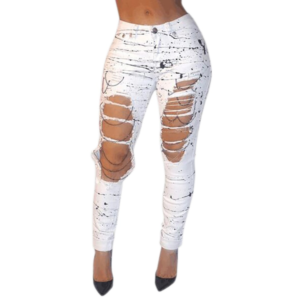 Fashion Summer Style White Hole Ripped Jeans Women Cool Denim High Waist Pants Capris Ladies