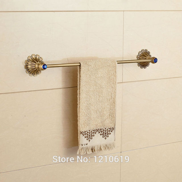 Newly Single Tier Bath Towel Bar Holder Antique Brass Blue Crystal ...