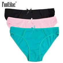 efefe12f9 FUNCILAC Underwear Da Marca Mulheres Sólidos Sexy Calcinhas de Algodão Rosa  kawaii Calcinha de Renda Patchwork