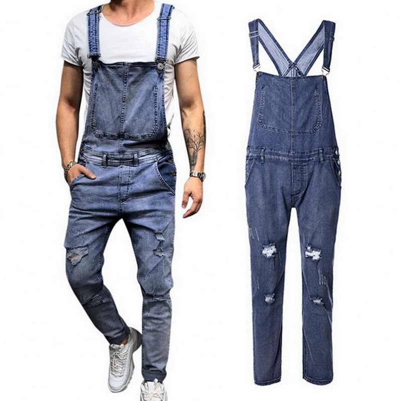b21b96f7ae71 VERTVIE 2018 New Ripped Jeans Jumpsuit Men Fashion Streetwear Hole Denim  Overalls Autumn Male Casual Pockets