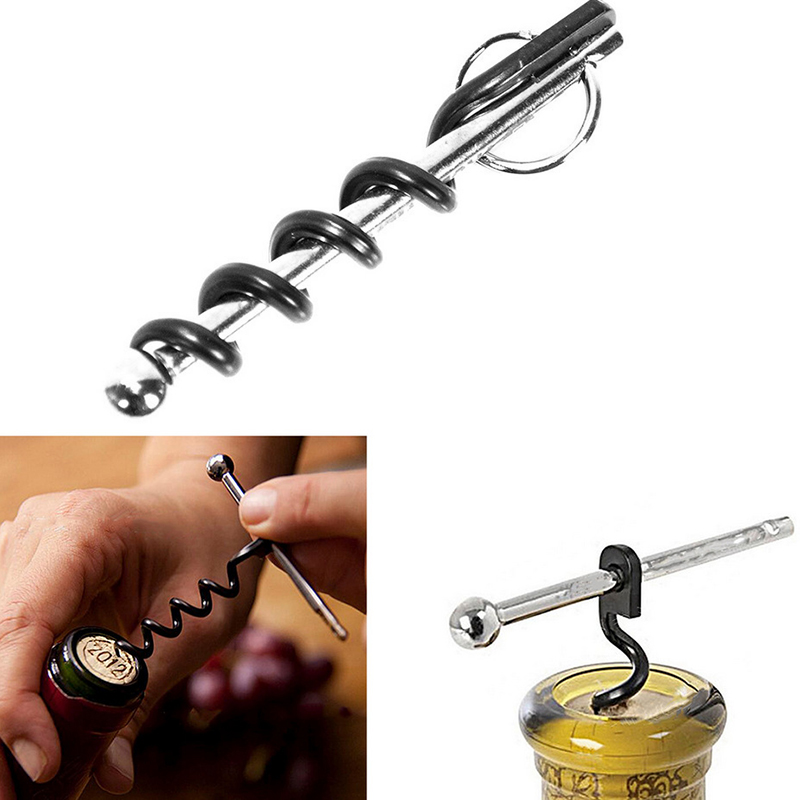 Bottle Opener Outdoor Mini Cork Screw Red Wine Bottle Opener Keyring Multi-functional Camping Survival Equipment Tool