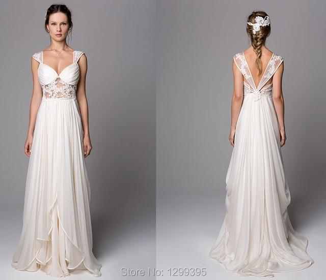 Beautiful Ivory Chiffon Long Beach Wedding Dress With Lace Liques Boho Vestido De Novia