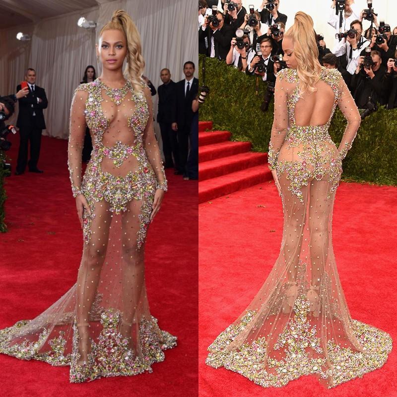 Illusion Sexy sirène longues robes avec cristal coloré perlé manches longues robe de soirée formelle sur mesure nue Tulle robe transparente