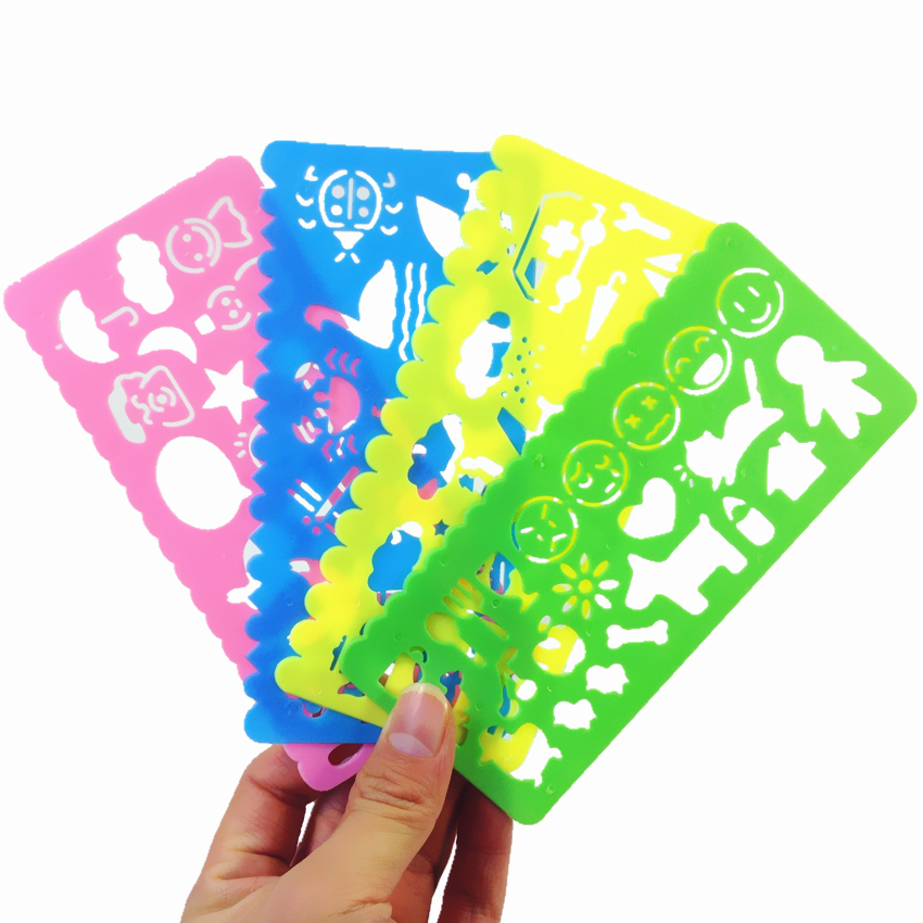 1pack/lot New Kawaii Hollow Drawing Template For Kids Color Draw Ruler Easy To Use Bookmark Cute Gift For Students