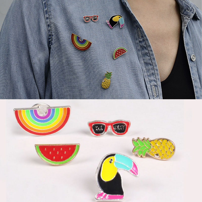1pc Fashion New Fruit Rainbow Woodpecker Brooch Button Pins Denim Coat Badge For Bag Hat Jewelry Gift For Girls Accessories