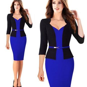 Womens Office Dress New Work Dresses 2018 Women Fashion Elegant Patchwork Business Bodycon Sashes Dress 4