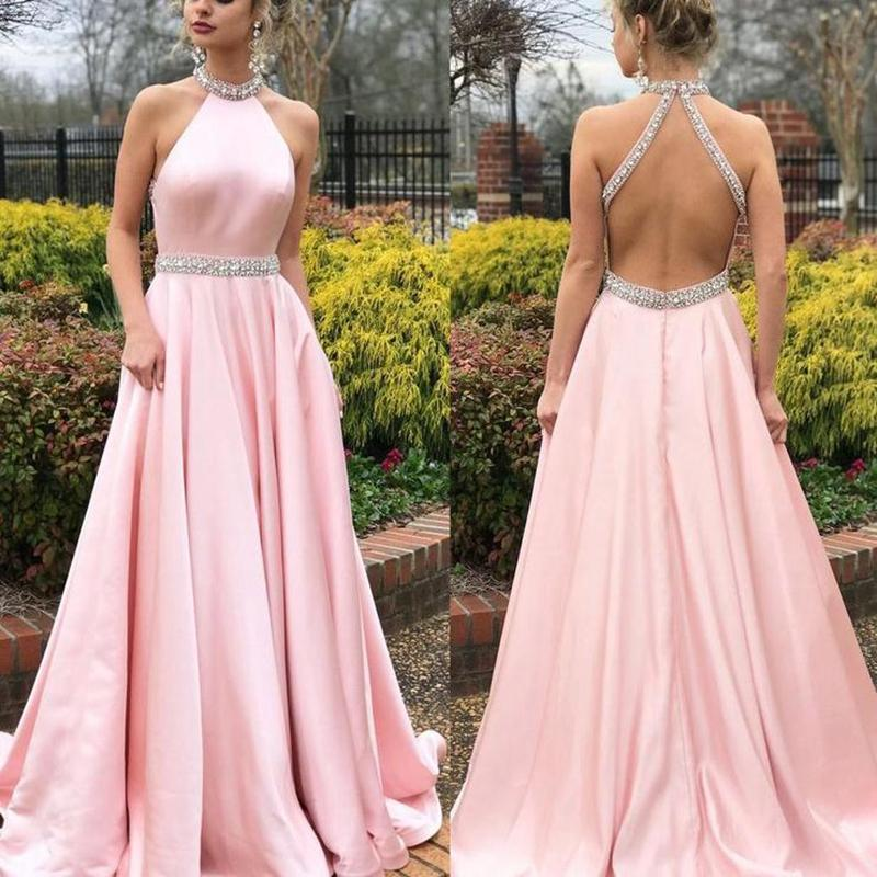 Pink Evening Dresses 2019 Latest Halter A Line Floor Length Prom Dress Crystal Beaded Satin Backless Formal Party Gowns