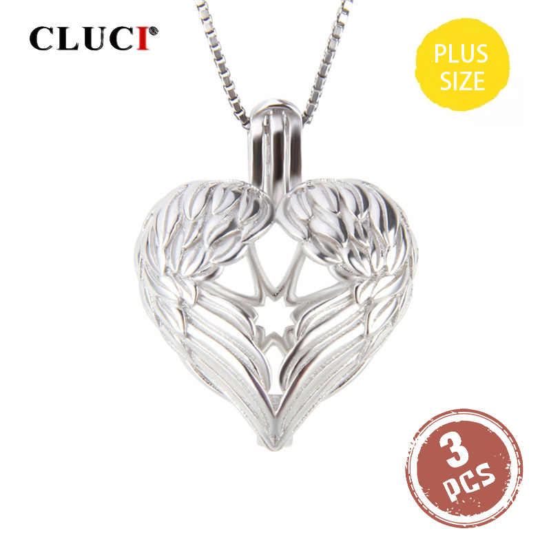CLUCI 3pcs Big Silver 925 Angel Wings Heart Charms Pendant Women Jewelry 925 Sterling Silver Locket