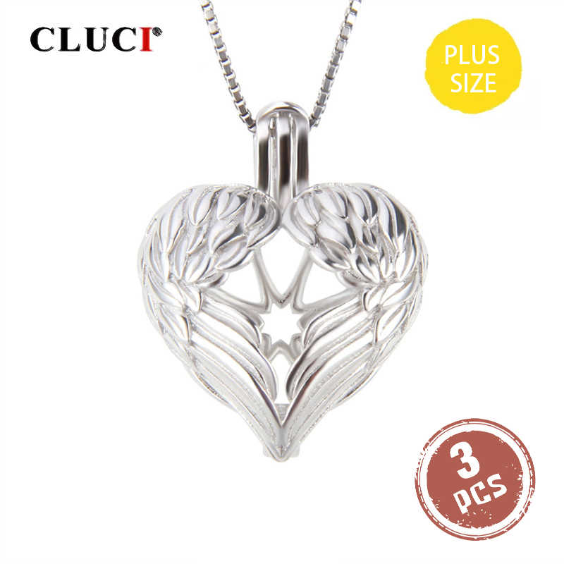 CLUCI 3pcs Big Silver 925 Angel Wings Heart Charms Pendant Women Jewelry 925 Sterling Silver Locket for 14mm Pearl